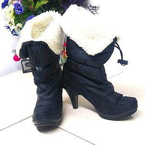 Moda In Pelle Black Fuzzy Winter Heeled Boots